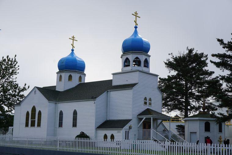 Die russisch-orthodoxe Kirche, das Wahrzeichen von Kodiak.
