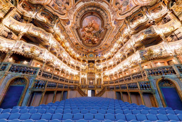 Das Marktgräfliche Opernhaus Bayreuth gehört zum UNESCO Weltkulturerbe.