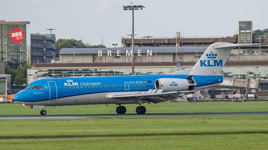 KLM-Flieger am Bremen Airport.