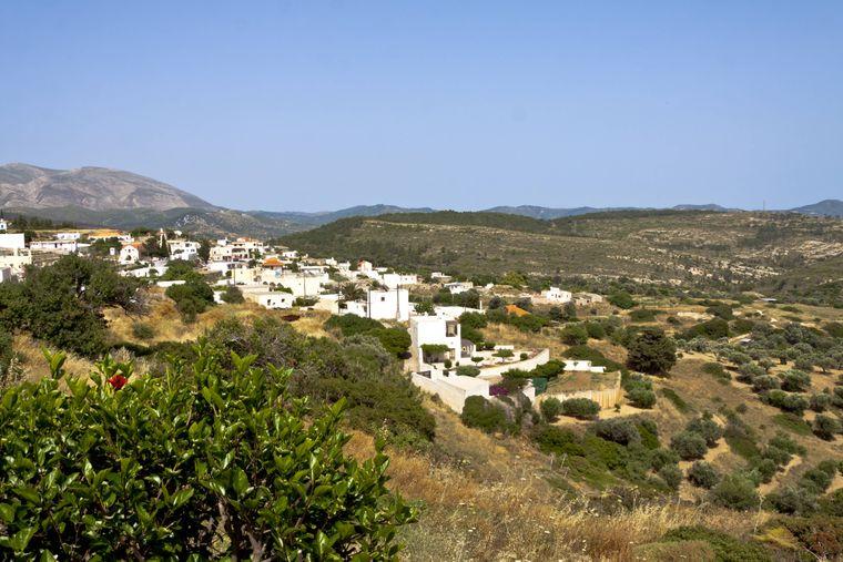 Blick auf das Dorf Monolithos auf Rhodos.