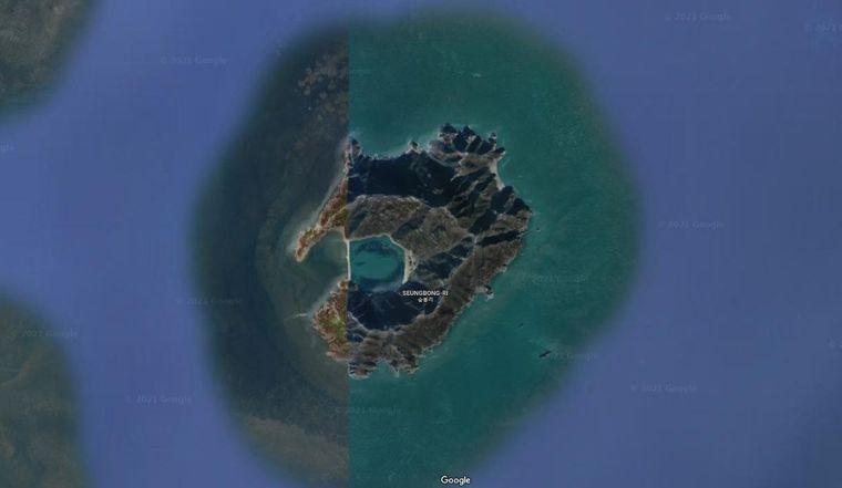 """Die Insel Seungbong-Ri in Google-Earth-Ansicht. Diese Insel könnte als Vorlage für die Netflix-Serie """"Squid Game"""" dienen."""