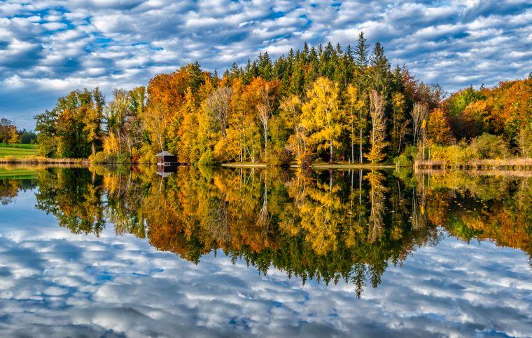 Zwischen Garmisch und München spiegeln sich die Bäume im idyllischen Haarsee.