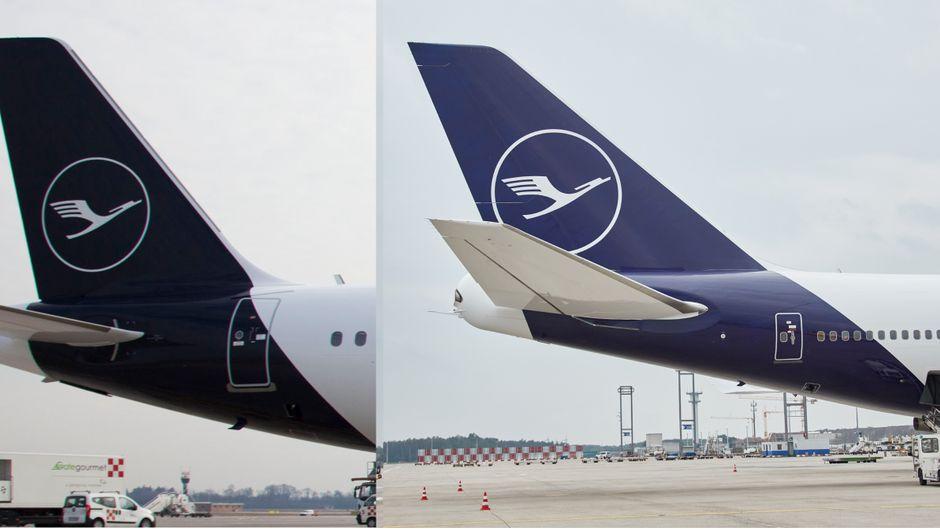 Die beiden Blautöne des neuen Lufthansa-Designs im Vergleich.