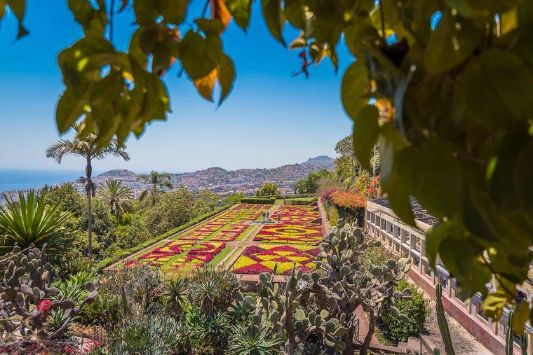 Die in geometrischen Mustern bepflanzten Beete locken viele Besucher in den Jardim Botânico, den Botanischen Garten.