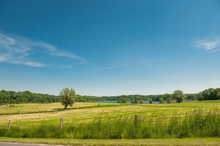 Die Farben Grün und Blau dominieren die sanfte Hügellandschaft der Stecknitz-Region.
