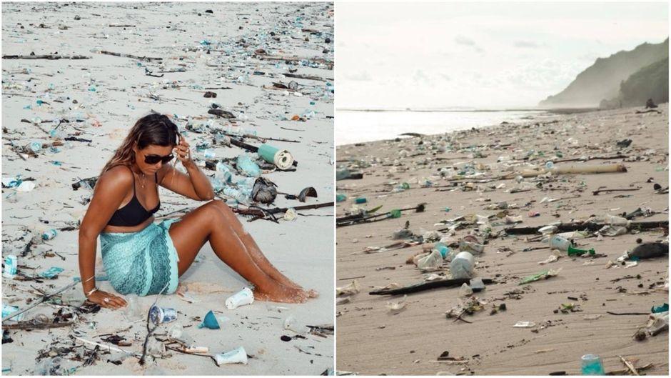 Die Bloggerin Amelia Wehlan sitzt an einem völlig vermüllten Strand auf Bali.