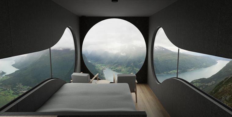 Innenansicht einer Birdbox-Kabine in Norwegen.
