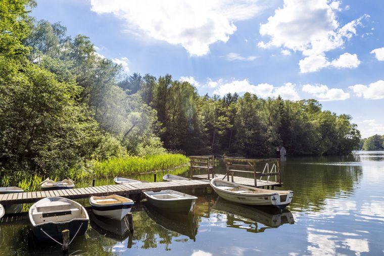 Boote liegen im Pipersee – einem idyllischen Plätzchen in Schleswig-Holstein mit etwa sieben Meter Wassertiefe.