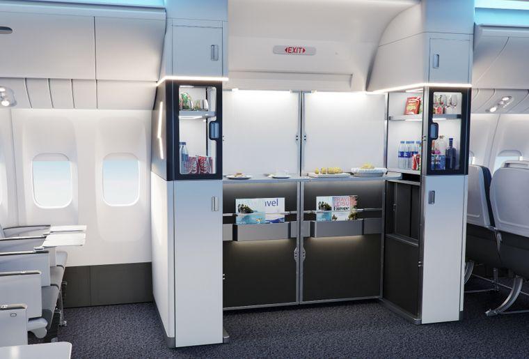 Vom Ausgang zum Kiosk: Wenn das Flugzeug in der Luft ist, können im Bereich der Türen Snacks und Getränke verkauft werden.