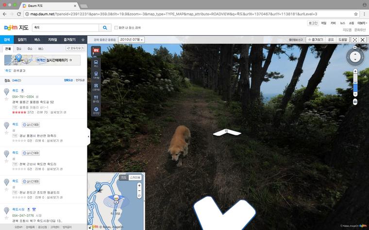 Hund auf einem Bild von Daum auf der Insel Jukda