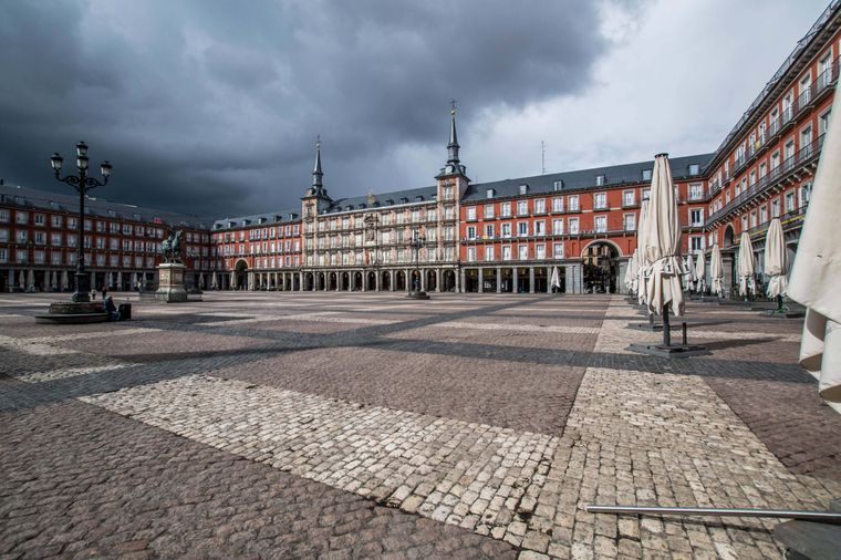 Plaza Mayor, Madrid, Spanien.