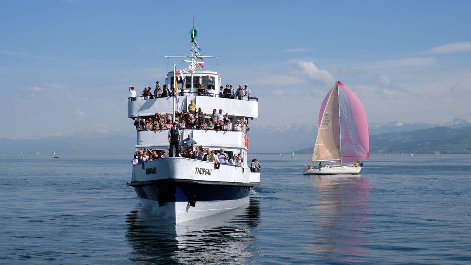 """Bei vollem Betrieb hat die """"MS Thurgau"""" bis zu 500 Touristen und Pendler an Bord. Heute ist das Schiff ein Impfzentrum."""