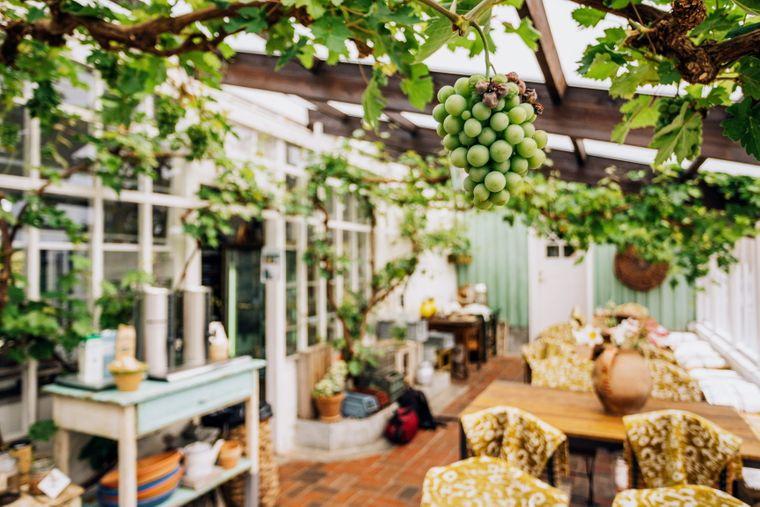 Zum Anwesen des Herrenhauses Hellekis Säteri gehört zusätzlich zum Garten auch ein einladendes Café.