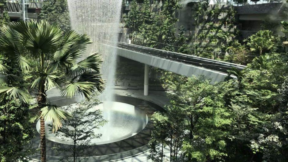 Der riesige Wasserfall Rain Vortex inmitten eines Indoor-Waldes ist das Herzstück des neuen Flughafengebäudes Jewel Changi Airport in Singapur.
