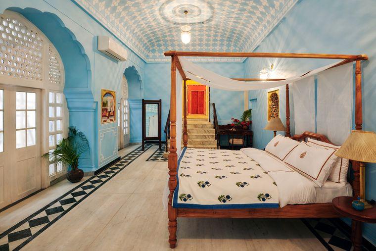 Schlafzimmer der Gudliya Suite im Stadtpalast in Jaipur auf Airbnb.