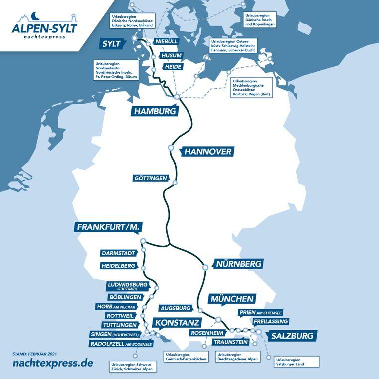 Diese Strecken fährt der Alpen-Sylt Nachtexpress.