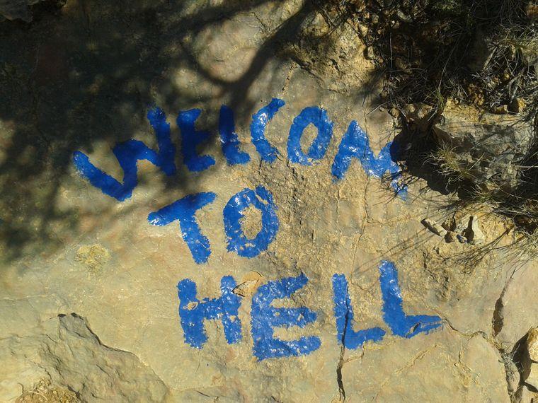 Eine Botschaft während meiner Wanderung.