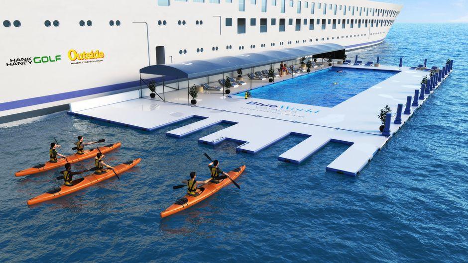 Der Meerwasserpool neben dem Kreuzfahrtschiff kann von der Crew auf- und wieder abgebaut werden.