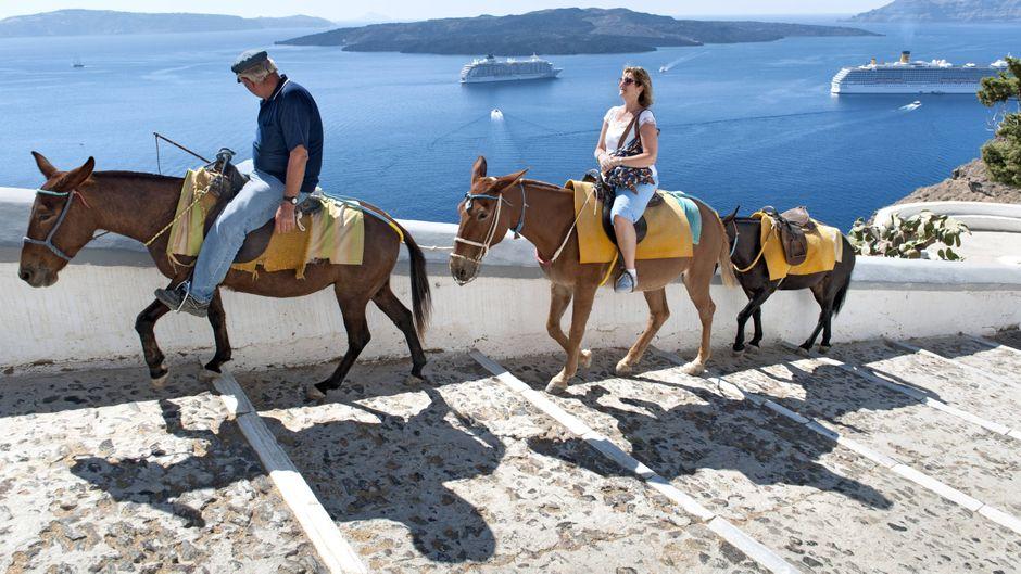 Touristen reiten auf Eseln vom alten Hafen zum Ort Fira auf der griechischen Insel Santorin.