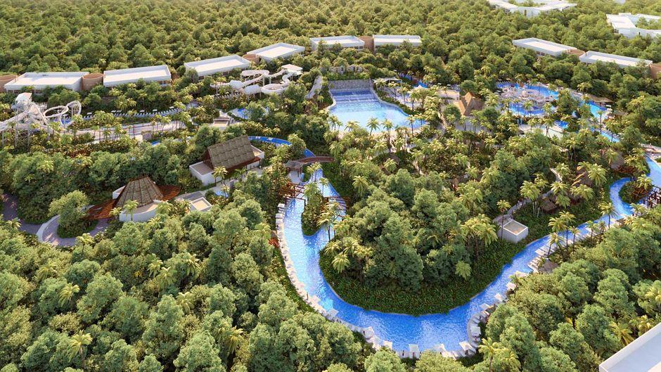 """Der Wasserpark """"Jungala"""" von oben."""
