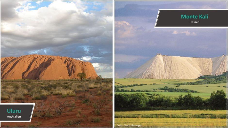 Gigantische Berge: Der australische Uluru aus rotem Akrose-Sandstein ist umgeben von unendlichen Weiten des Outback. Aber auch der Monte Kali in Hessen ist einen Besuch wert.