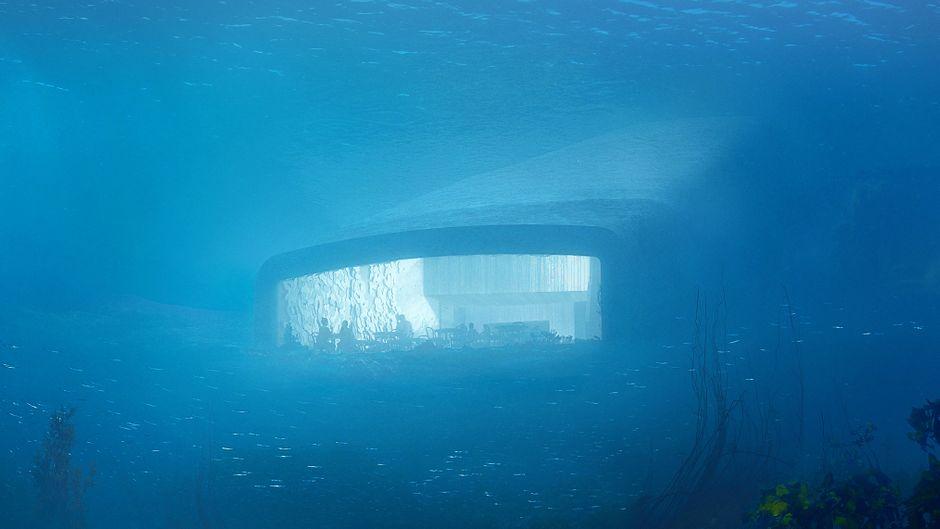 Das Unterwasser-Restaurant befindet sich am Ende des Gebäudes auf dem Meeresgrund.