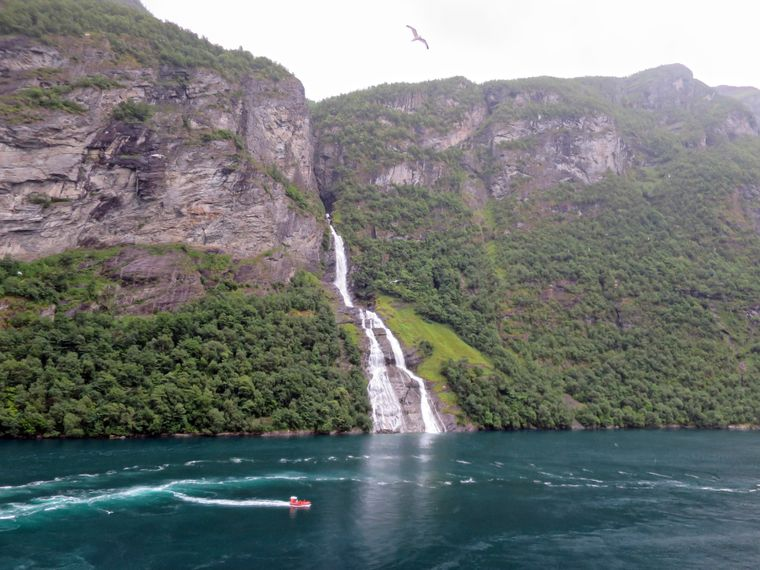 Wasserfall am Geirangerfjord in Norwegen.