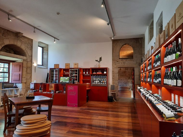 Im Welcome Center der Dão-Weinroute in Viseu stehen wechselnde Weine zum Probieren bereit.
