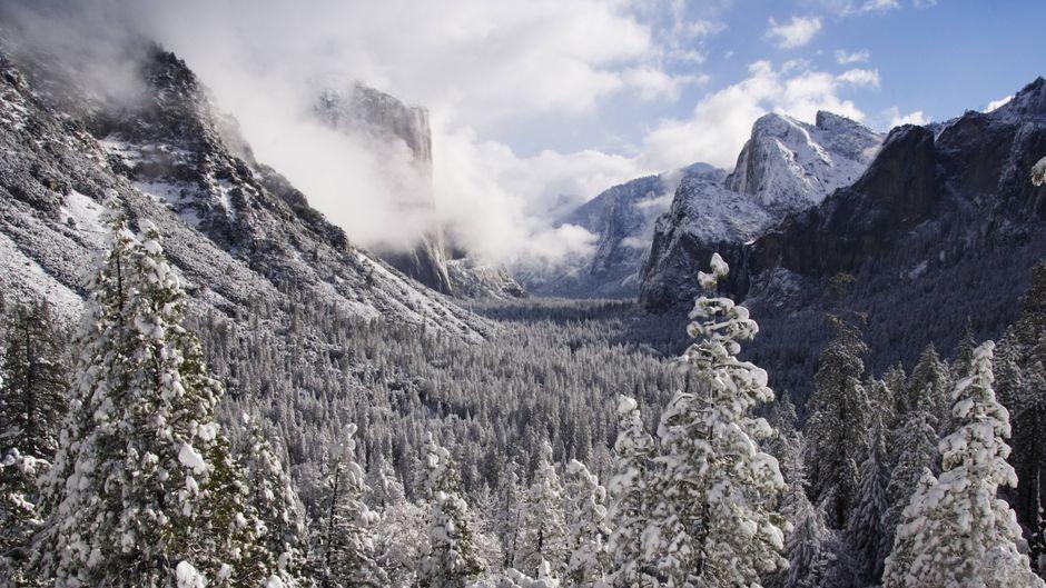 Der schneebedeckte El Capitan im Yosemite Valley.
