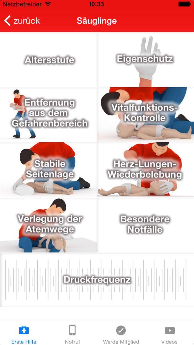 Die Erste-Hilfe-App erklärt Schritt für Schritt, was du im Notfall tun kannst.