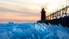 Der Lake Michigan bietet ein atemberaubendes Schauspiel im Tauwetter.