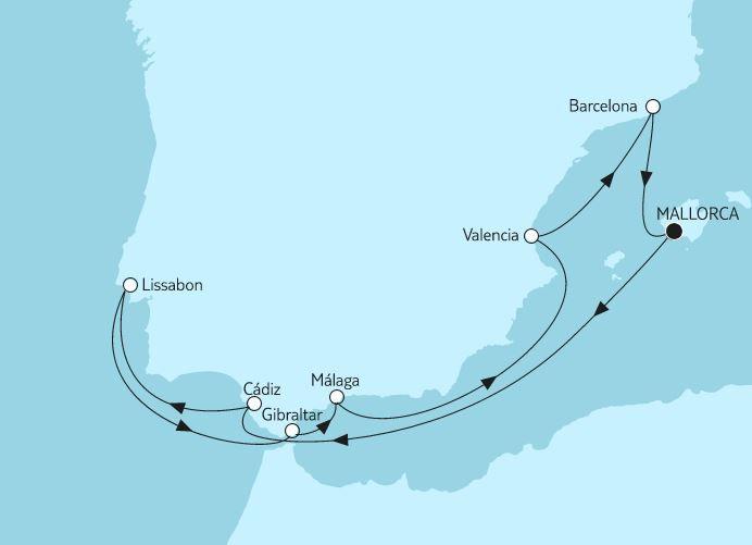 Reiseverlauf Mittelmeer bis Malaga.