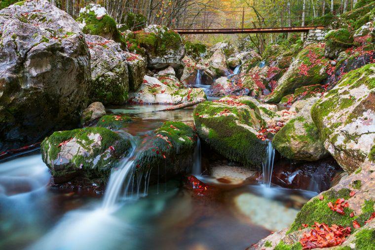 Bergbach im Lepena Tal in Slowenien.