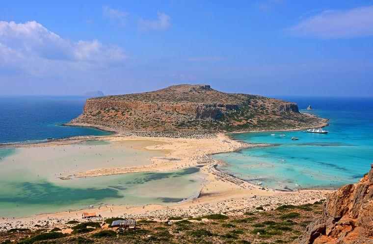 Erkunde die Bucht von Balos mit der Lagune von Gramvousa in Westkreta.