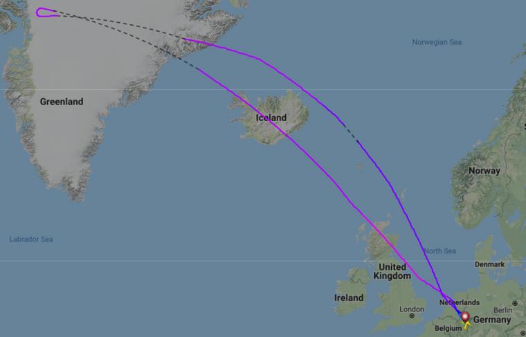 Flugroute des Eurowings-Flugs EW168 von Köln nach Seattle am 24. September 2018.