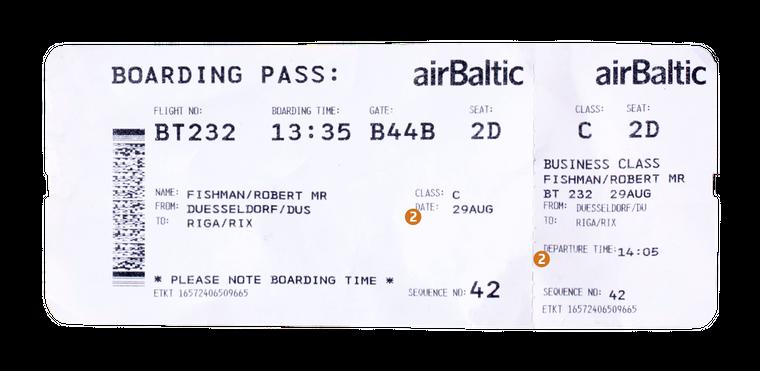 2. Hier findest du das Datum, an dem du fliegst. Hier ist es der 29. August. 2. Hier findest du das Datum, an dem du fliegst und die Abflugszeit. In dem Fall geht es am 29. August um 14.05 Uhr los.