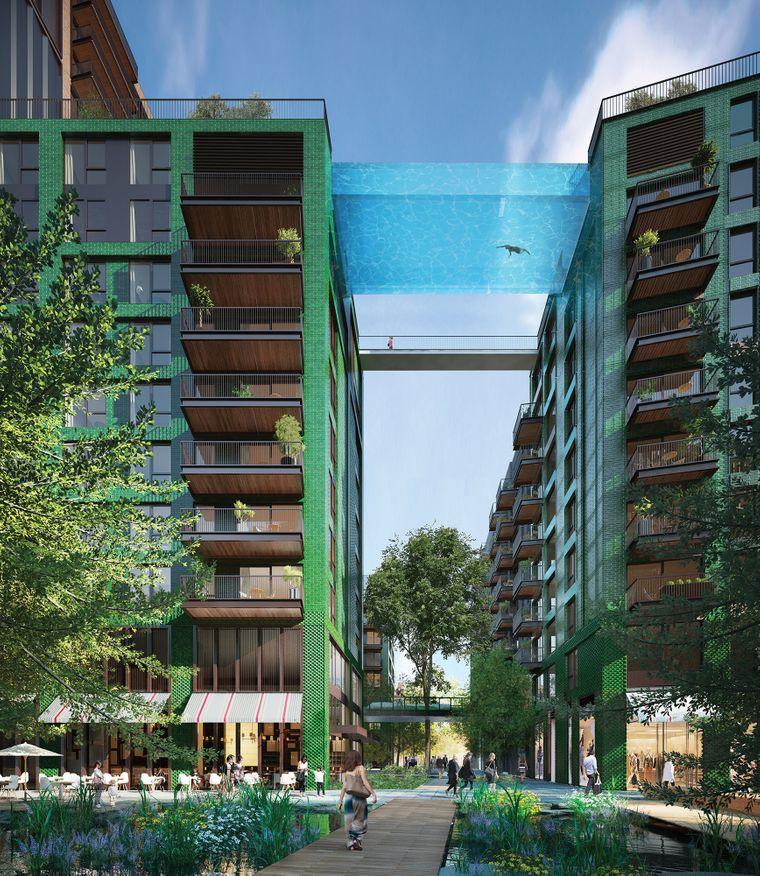Der Sky Pool verbindet zwei Wohnhäuser.