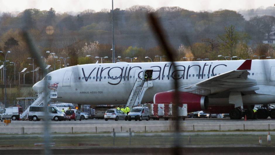Virgin-Atlantic-Maschine am Gatwick Airport in London.