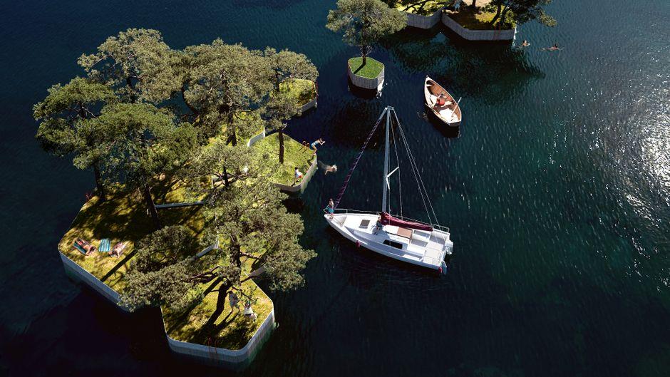 Schwimmende Parkinseln in Kopenhagen.