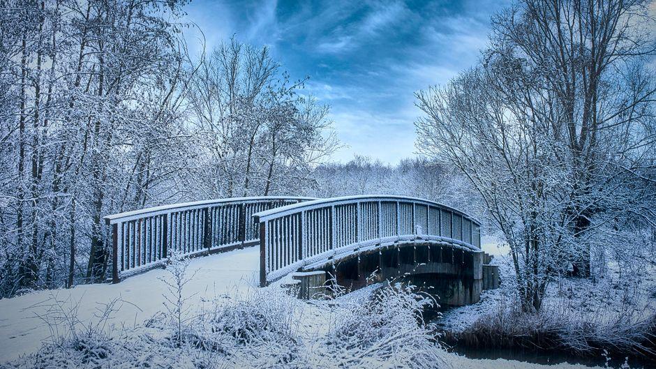 Brücke am Waldsee Lauer in Markkleeberg bei Leipzig im Schnee.