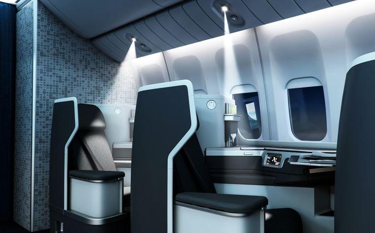 Mit den LED-Leuchten von Collins Aerospace können Passagiere unterschiedlich weite Lichtkegel einstellen.