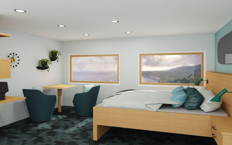 Doppelkabine mit Panorama-Fenstern.