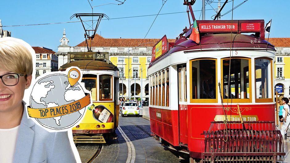 Fotomontage vom Top Place Lissabon mit Straßenbahnen.