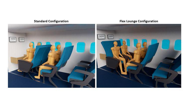 Sitzreihe im Flugzeug, die sich zum Vierersitz umbauen lässt.