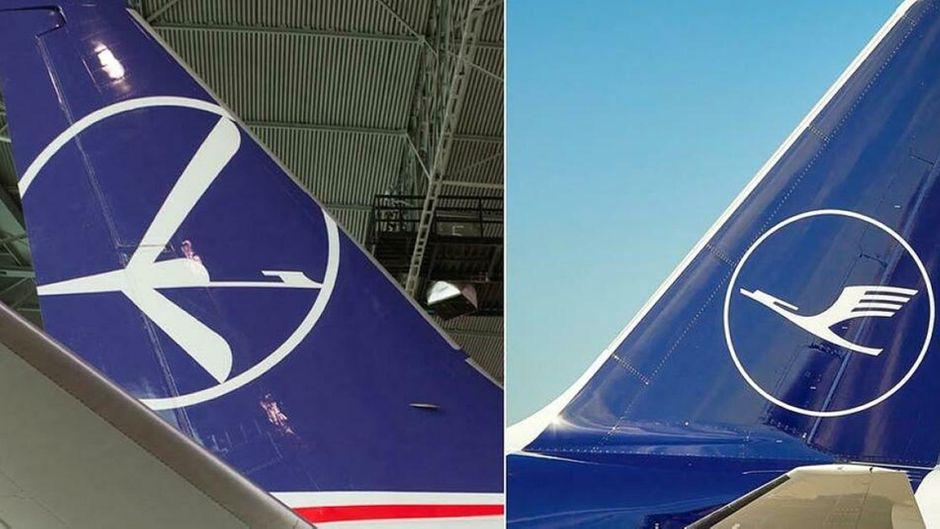 Die Logos der Airlines Lot und Lufthansa im Vergleich.