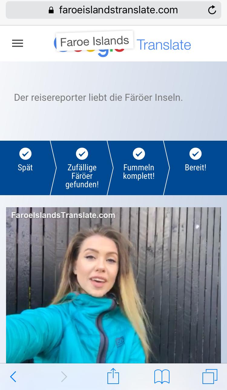 Screenshot von Faroer Translate mit Übersetzerin.
