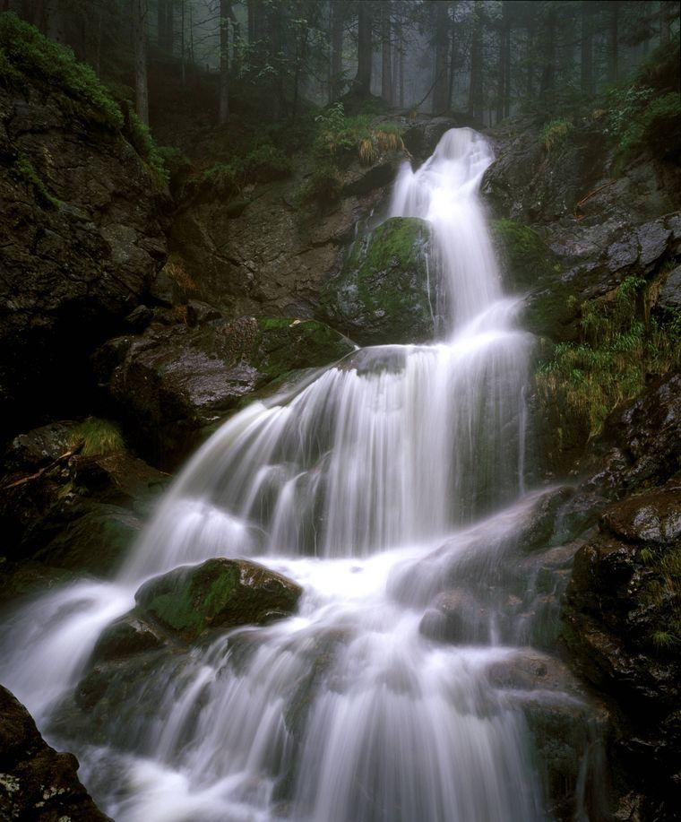 Die Rißlochwasserfälle im Nationalpark Bayerischer Wald.