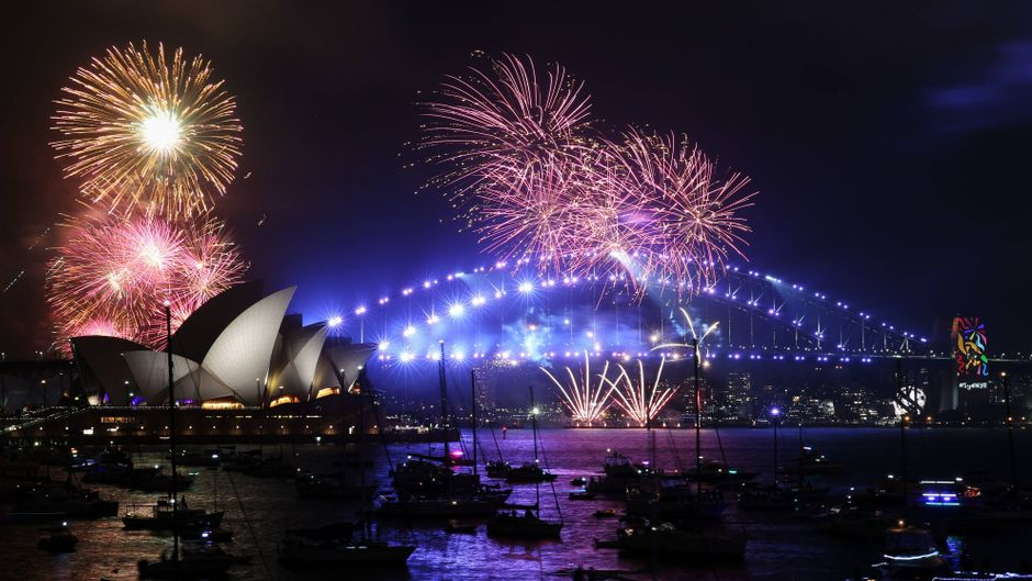 Feuerwerk an Silvester in Sydney, Australien am 31.12.2017.