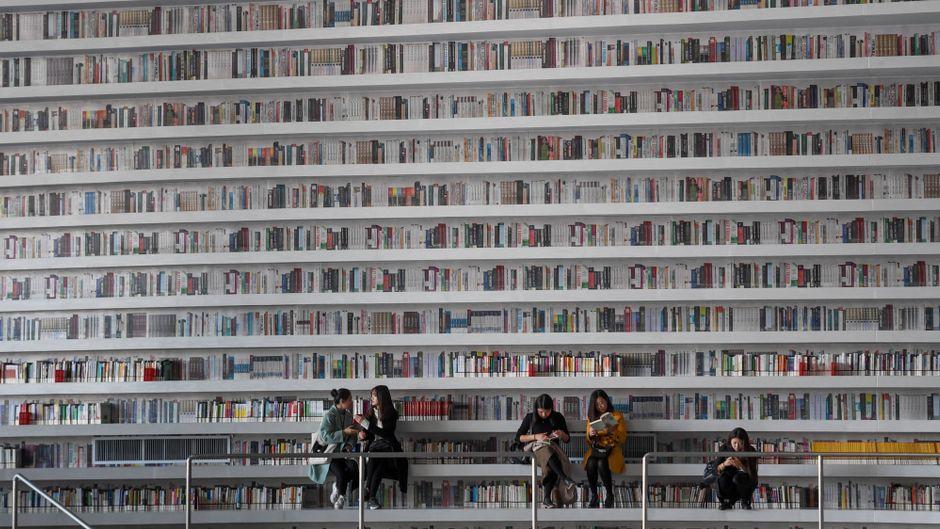 Meterhohe Bücherregale bieten Platz für mehr als eine Million Bücher.