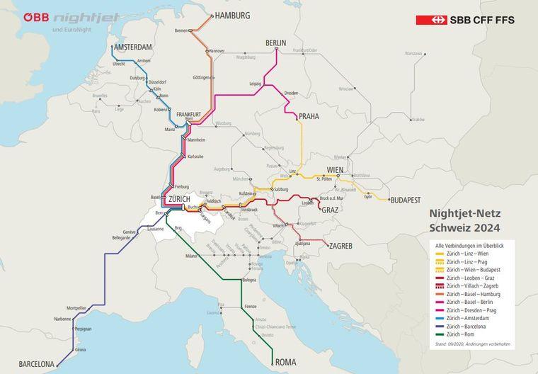 Das sind die Pläne für das Nightjet-Netz Schweiz 2024.